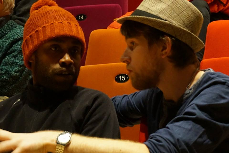 Paul Wamo et moi quelques minutes avant notre lecture. Photo : Hugo Nieddu